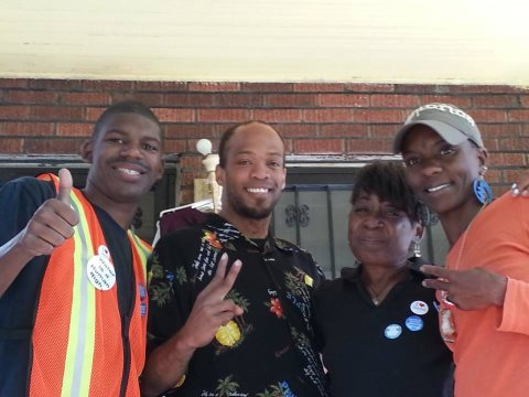 The Detroit Water Brigade crew help out. Photo: Meeko A. Williams via facebook.com/waterbrigade .