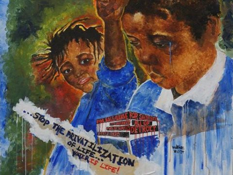 Stop the privatization of life! Mural by Wayne Curtis via facebook.com/waterbrigade .
