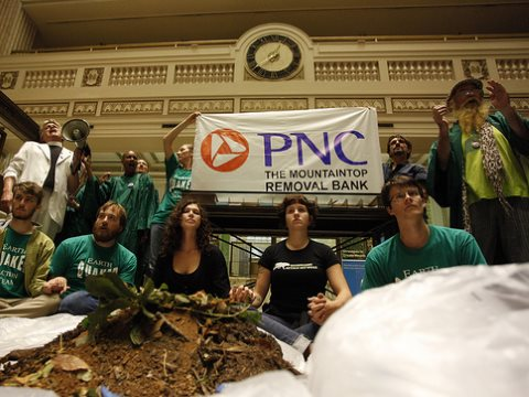 Appalachia Rising: Activists Deliver Coal Waste to PNC Bank - the largest U.S. financier of mountaintop removal (MTR) coal mining. Photo: Rich Clement / RAN via Flickr.