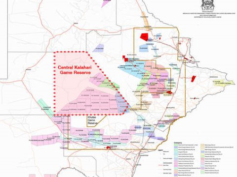 The 'secret' map showing fracking licences in the Central Kalahari Game Reserve. Image: Government of Botswana.