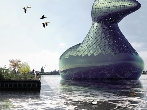 The Energy Duck, proposed for Copenhagen harbour by artists Hareth Pochee, Adam Khan, Louis Leger and Patrick Fryer. Photo: 2014 Land Art Generator Initiative.