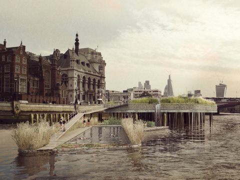 Visual of proposed Thames Baths in detail at Temple, London, designed by Studio Octopi. Visualiser: Picture Plane.