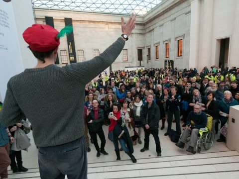 The 2012 flashhorde at the British Museum passed peacefully with no damage - so why the change in tactics? Photo: BP or not BP?