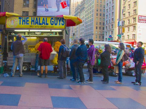 The meat is halal - but is it 'tayyib'? Photo of 53nd Street at 7th Avenue in mid-town Manhattan, by Ed Yourdon via Flickr.
