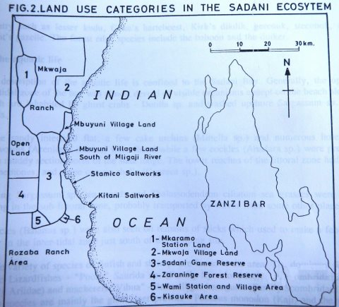 An old map showing the Saadani Game Reserve. Image: Alejandra Orozco-Quintero.
