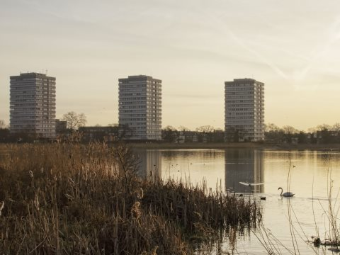 Woodberry Down Estate, Hackney, London - and adjoining wetlands. Photo: Simon de Glanville.