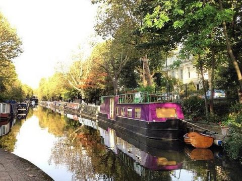 Narrowboats on the Regents Canal, Little Venice, in central NW London. Photo: London on the inside.