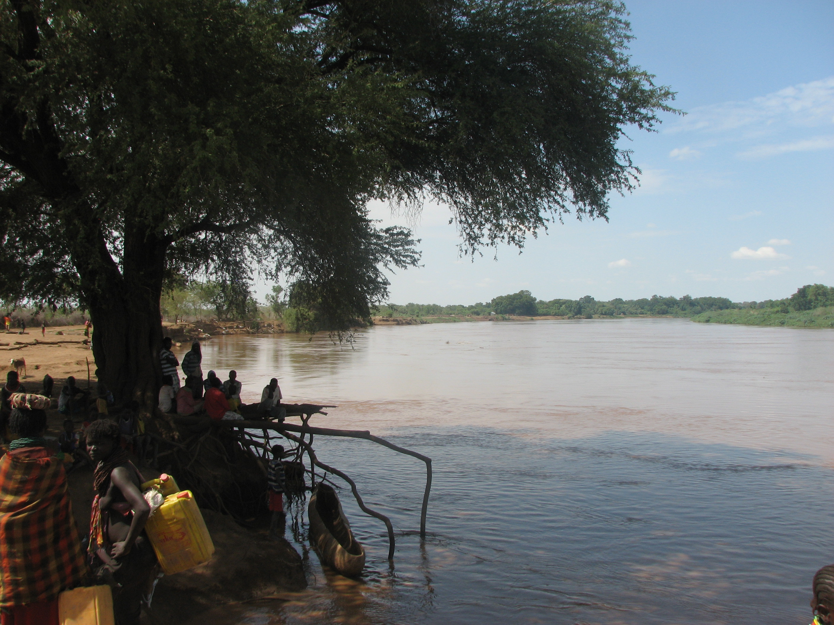 Nyangatom residents gather water form the Omo river. Photo: Matthew Newsome.