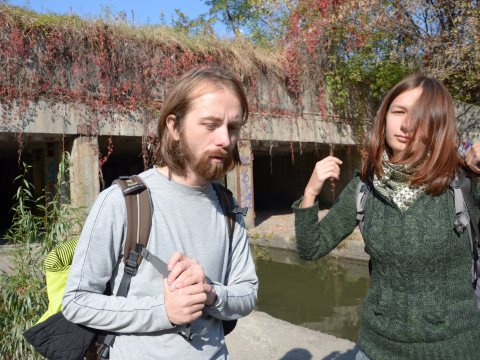 Oleksij Vasyliuk and Daria Shiryaeva by the Lybid River, right next to Lysa Hora nature park in Kiev. Once an important tributary of the Dnieper, dotted by watermills, the river  is heavily polluted and runs in culverts under the city. Photo: Dimeter Kena