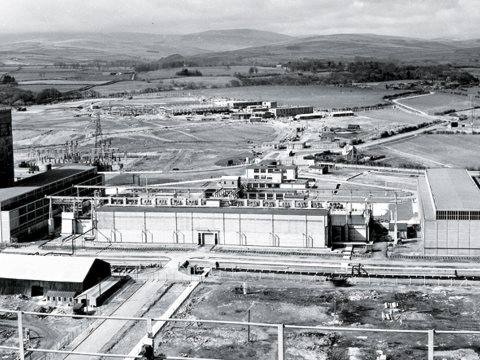 The nuclear fuel pond construction site, late 1940s. Image: Sellafield Ltd.