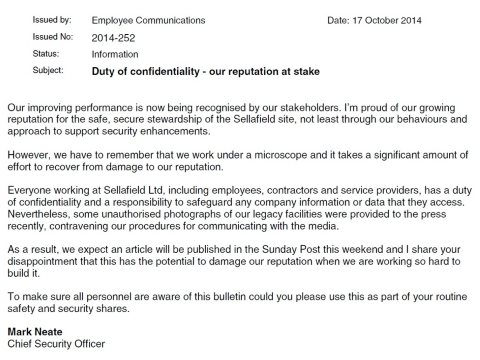 A letter of 17th October from Sellafield's head of security expressing concern at the reputational damage the leaked photos might cause. The Sunday Post has failed to publish the photographs or run the story.