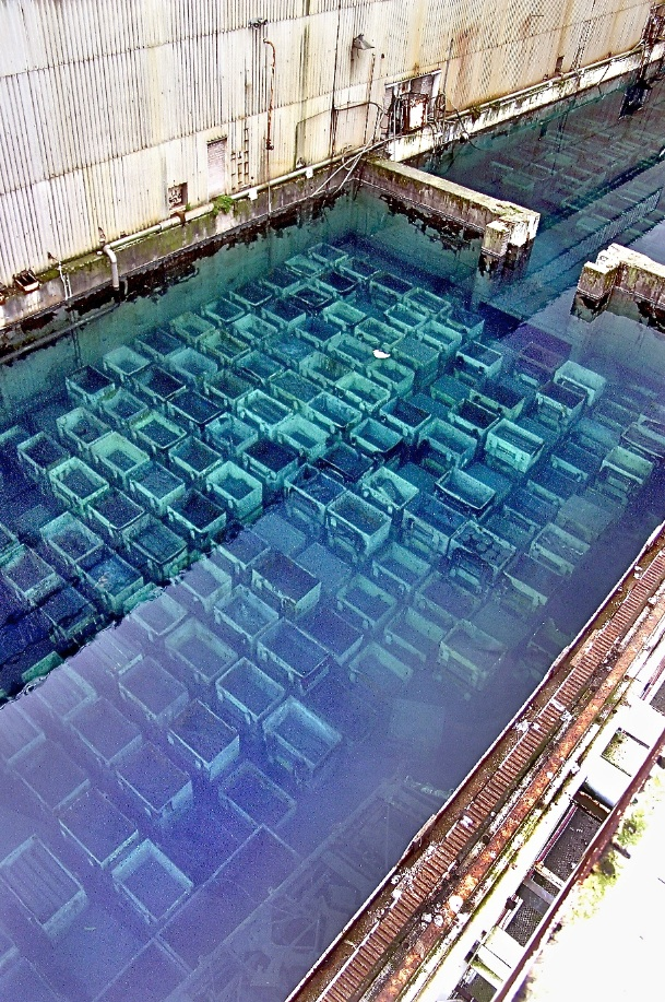 Sellafield - the B30 pond after the water was clarified, possibly 2014, revealing the massive legacy of fuel rod skips.