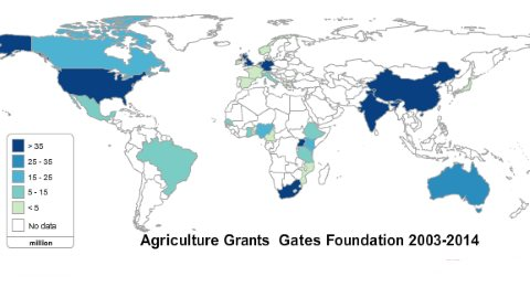 Gates Foundation agriculture grants by country, 2003-2014. Map excludes grants to CGIAR, AGRA, AATF and international organisations.