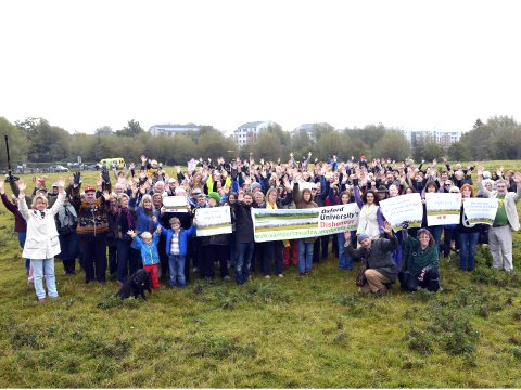 Campaigners gather before the development, October 2014. Photo: Save Port Meadow.