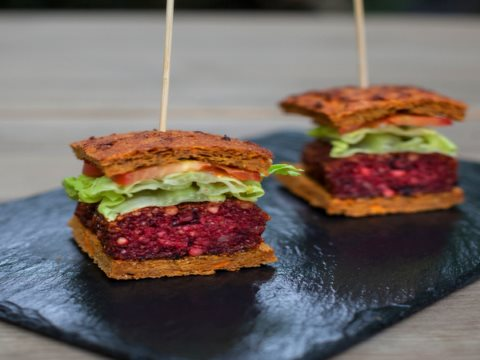 Vegan beetroot burger.