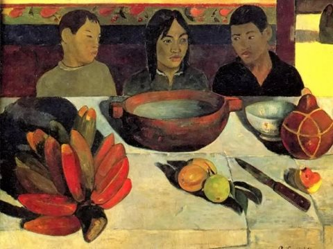Painted in 1891, Paul Gauguin's 'Le Repas' features a Tahitian cultivar of red banana.