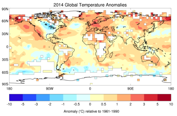 Map of local temperature anomalies in 2014 relative to average of 1961-1990. Image: WMO.