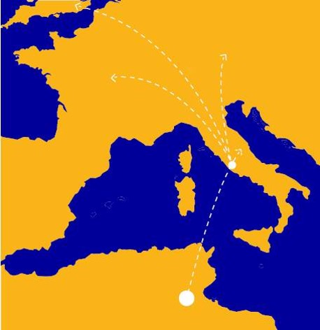 The route of the electricity from the Tunisian desert to a landing north of Rome and hence into the European electricity grid.