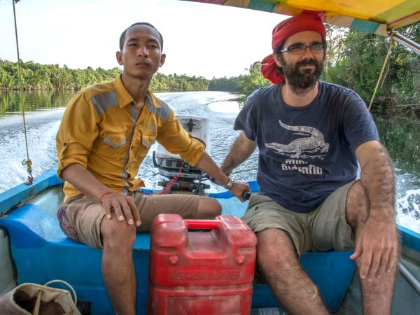 Mother Nature activists San Mala and Alex Gonzalez-Davidson assess sand-mining in the Tatai river. Both arrested and Alex was deported from the country. Mala who was released continues to campaign with Mother Nature. Photo: Rod Harbinson.