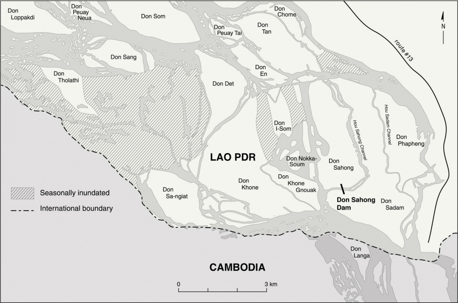 A map showing the location of the planned Don Sahong dam. Image: via International Rivers.