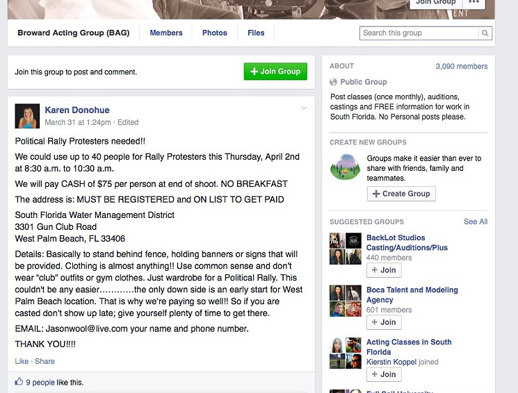 The Facebook posting advertising the opportunity for actors to earn $75 for a two-hour protest shift outside the South Florida Water Management District.