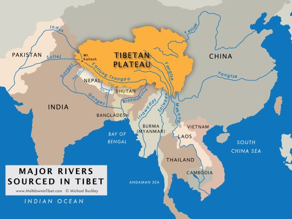 A map of Tibet showing the many rivers whose sources lie on the Tibetan Plateau. Image: author-supplied.