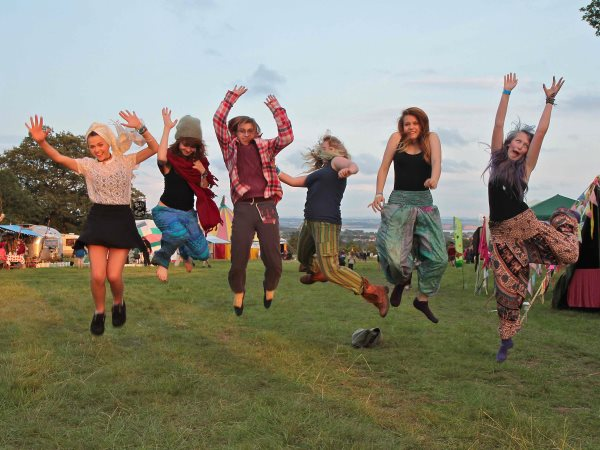 Jumping for joy at the Green Gathering. Photo: Green Gathering.