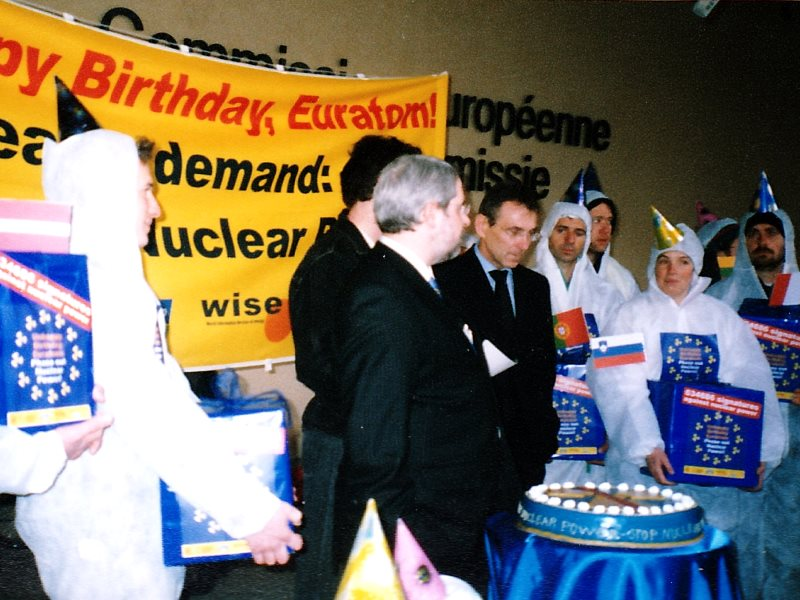 A protest by Finnish and other protestors  disrupting Euratom's 50th birthday celebrations in 2007. Photo: Ulla Klotzer.