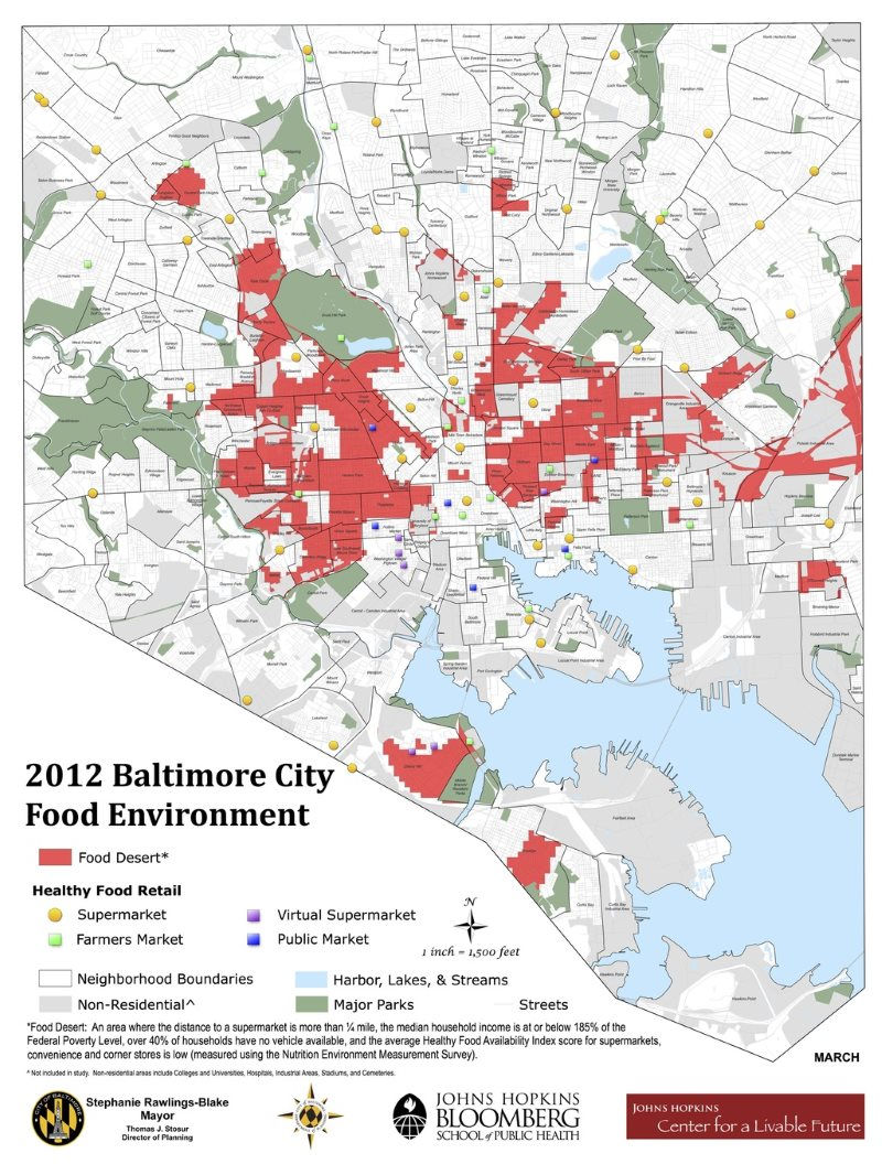 Red areas indicate 'food deserts' in Baltimore, areas where the distance to a supermarket is more than a quarter mile and the median income is below the poverty level and other factors. Image: Johns Hopkins Bloomberg School of Public Health.