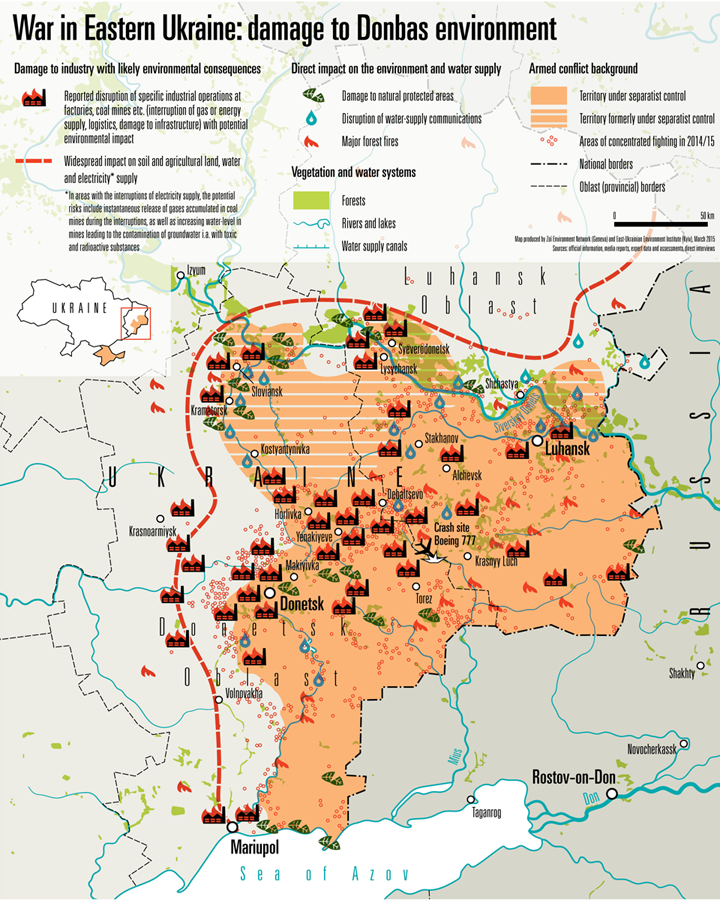 A map produced by Geneva's Zoi environment network and the East Ukraine Environment Institute based on official information, media reports, assessments and interviews shows environmental damage in the region.