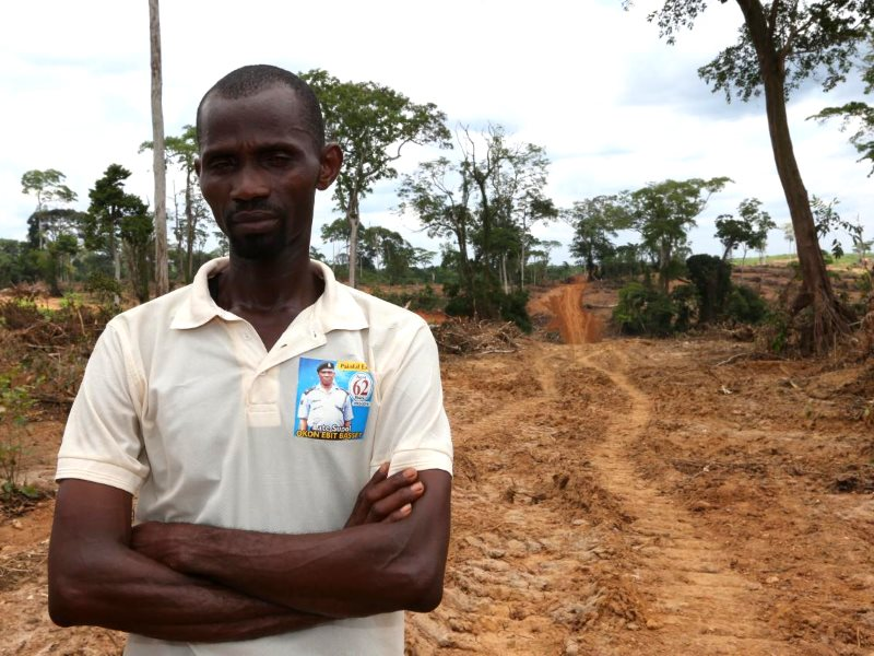 William Ogobe, one of the farmers whose land and trees have been destroyed by Wilmar. Photo: FOEI / ERA.