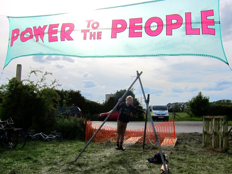 Power to the People! a young climate activist at the Didcot Climate Camp this weekend. Photo: Zoe Broughton.