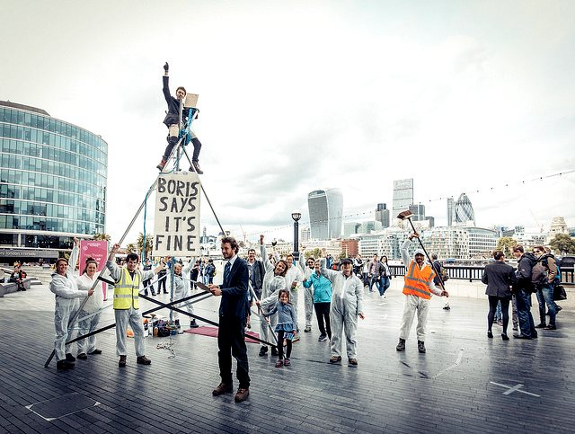 A pop-up fracking rig was erected outside London's City Hall on Monday to protest at Major Boris Johnson's refusal to consider fossil fuel divestment, and his statement that 'no stone may go unfracked'. Photo: Reclaim the Power.