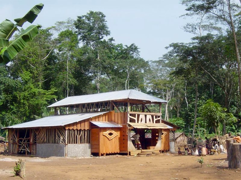 The Baka Music House ion the forest built using funds raised from Baka Beyond album sales. Photo: Baka Beyond.