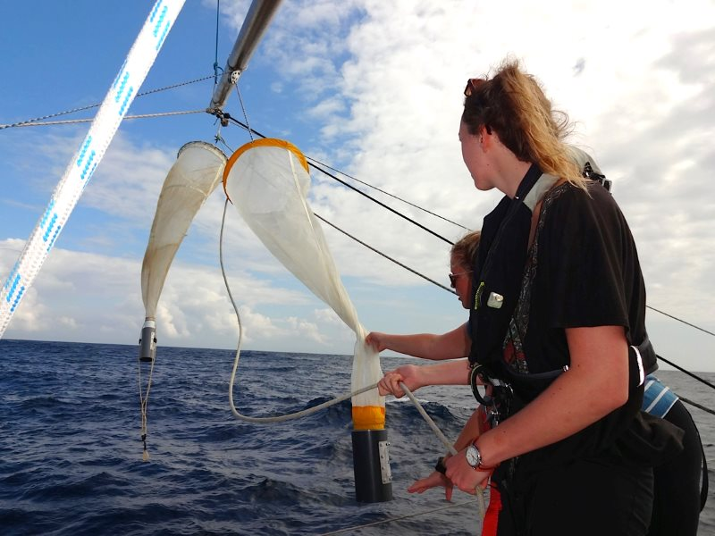 Trawling the Atlantic for plastic debris on the Sea Dragon. Photo: Kate Rawles.