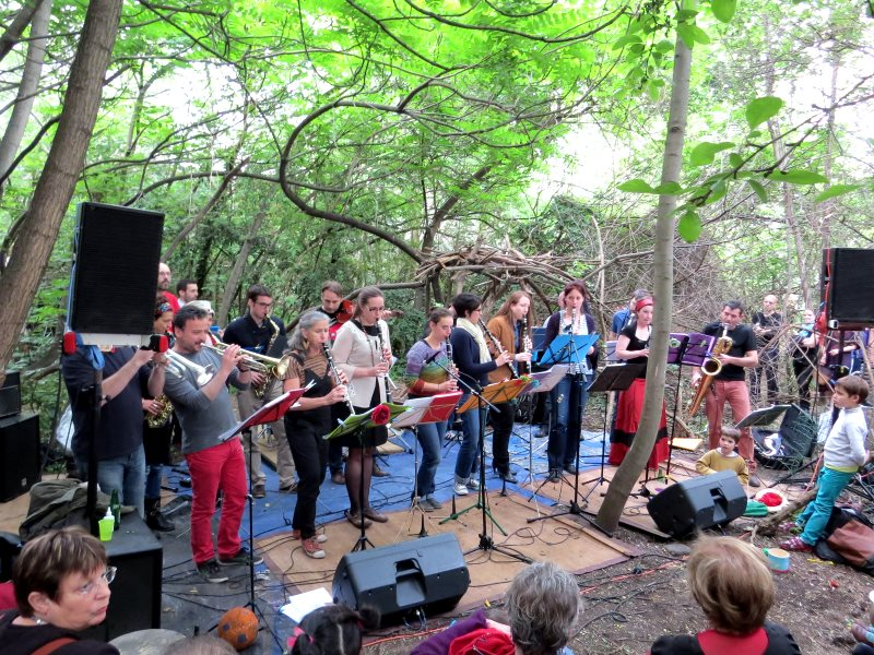 A full band strikes up in an a community event for the campaign to save the Bois Dormoy. Photo: Judith le Blanc.