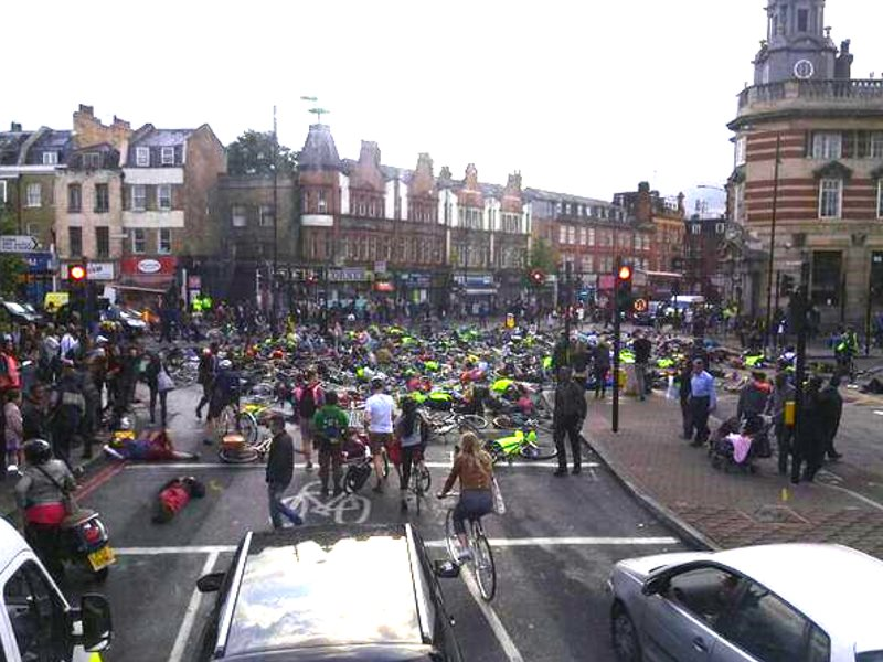 The first of the three cyclist deaths, that of Esther Hartsilver, was honoured by a large Die-In at Camberwell Green. Photo: Donnachadh McCarthy.