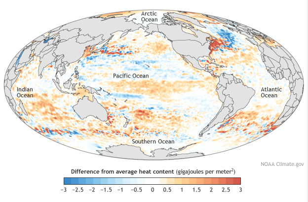 Heat energy of oceans in 2014 as compared with the 20-year average. Graphic by NOAA, the US National Oceanic and Atmospheric Administration.