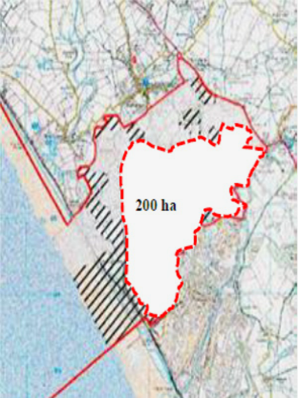 Figure 2: the new 552 hectare site rebranded as the 'Moorside Search Area' as identified in NuGen's Scoping Report Vol 2 (page 3) and within which the original 200 hectare land area, now identified as 'boundary for reactors', has been transposed to illust