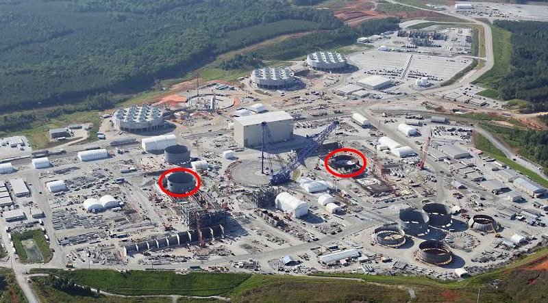 What a sprawl! The VC Summer twin AP1000 nuclear plant under construction in South Carolina, 20th June 2015. Photo: SRS Watch.