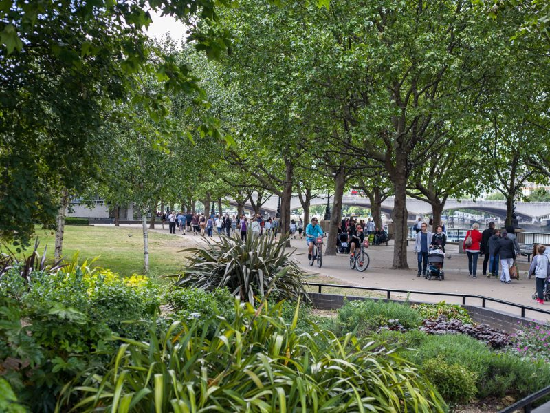 Existing public space on the South Bank which will be removed to make way for commercial units, queuing and corporate entertainment. Photo: Will Jennings.