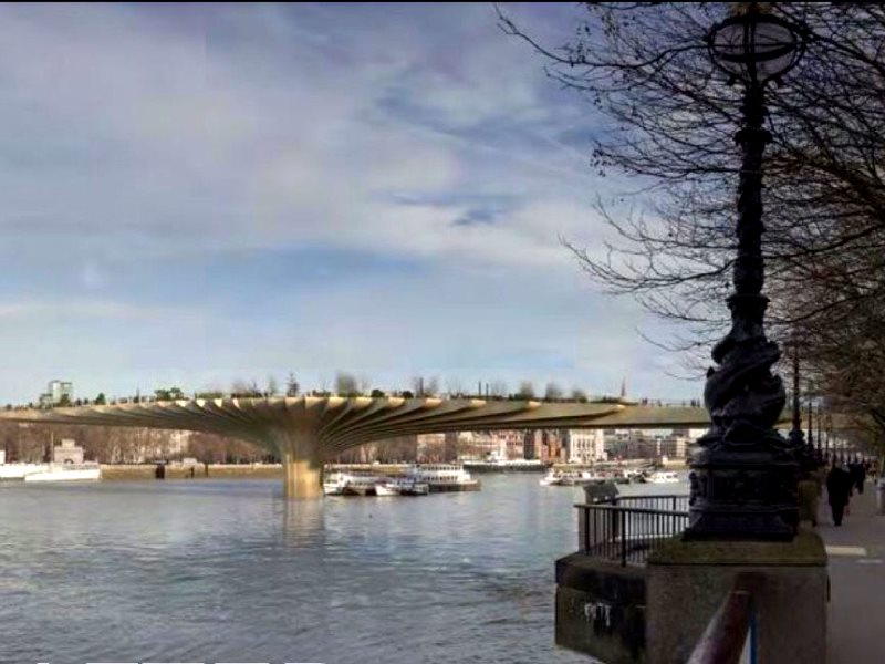 Image from the Garden Bridge planning application showing the bridge from the South Bank, blocking views across the river including those to St. Paul's Cathedral.