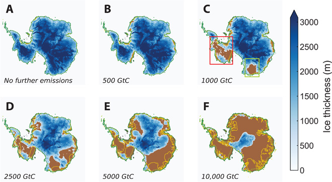 States of the Antarctic Ice Sheet after 10,000 years. Image: Ricarda Winkelmann et al / Science Advances.