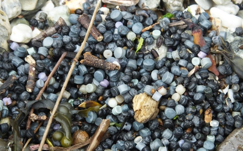 Nurdles found on Corona beach, Falmouth in recent weeks. Photo: Rob Wells / Rame Peninsula Beach Care.