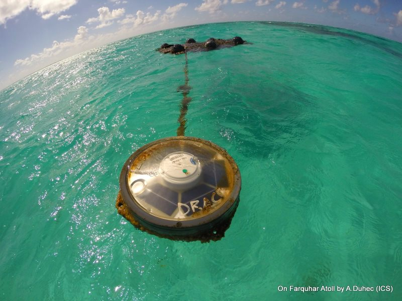 An FAD with solar powered electronic trackers on Farquhar Atoll, Seychelles. Photo: ICS.