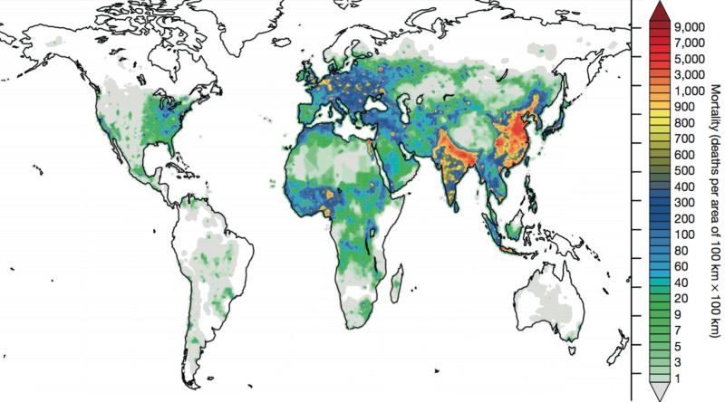 Mortality linked to outdoor air pollution in 2010. The two main regions are easy to spot. Image: Lelieveld et al.
