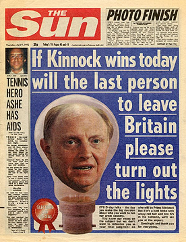The Sun, election day 1992.