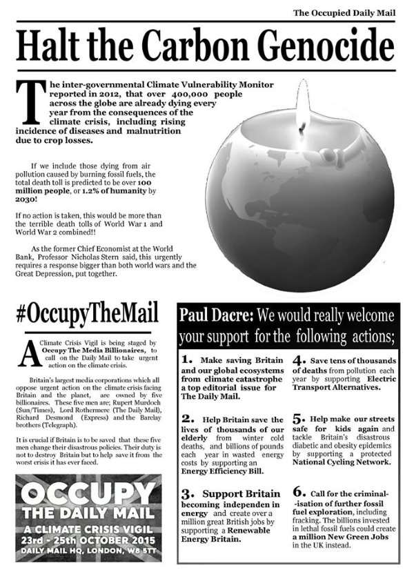 The 'Occupied Mail' - special protest edition, 23rd October 2015.