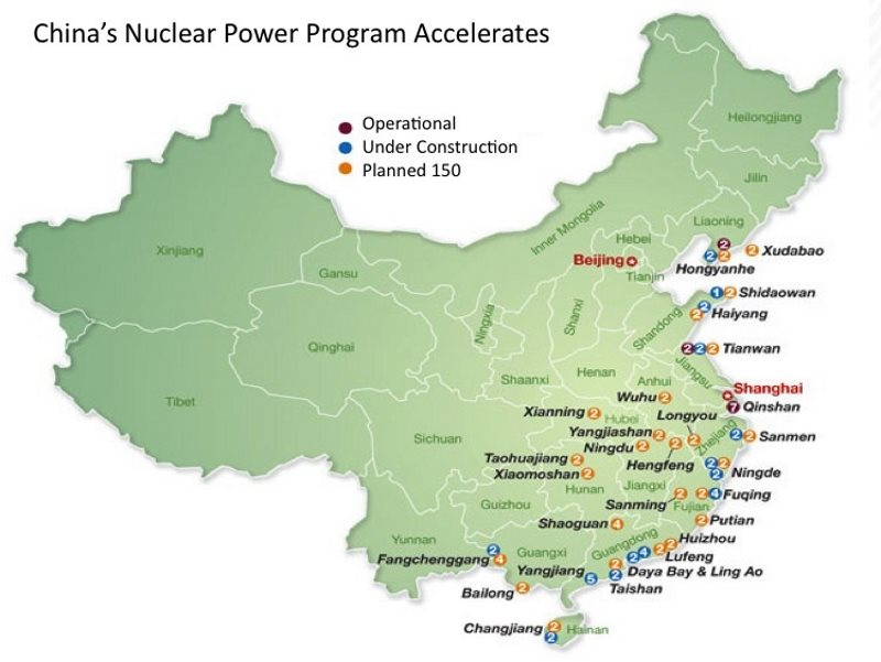 This map shows 77 nuclear reactors existing, under construction or planned for China's tsunami-vulnerable east and south coasts. Source: Research Institute of Tepia, via Forbes.