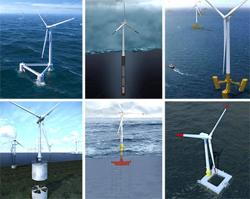Six of the 18 floating wind turbine platform designs the Carbon Trust examined in its recent report. Photo: Carbon Trust.